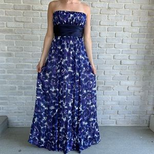 BCBG Blue Floral Strapless Maxi Dress Chiffon Sz 8